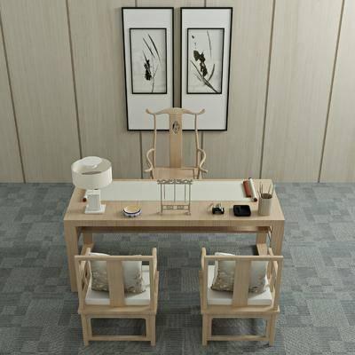 桌椅组合, 书桌, 单人椅, 摆件, 装饰品, 陈设品, 装饰画, 挂画, 新中式