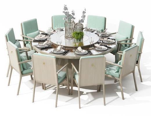 新中式, 椅子, 单椅, 餐桌, 圆桌, 花瓶, 装饰品, 餐具, 刀叉