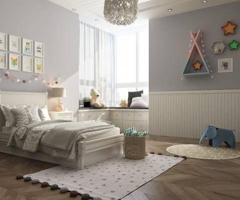 儿童房, 北欧儿童房, 床具组合, 挂件, 墙饰, 单人床, 玩偶, 玩具, 北欧