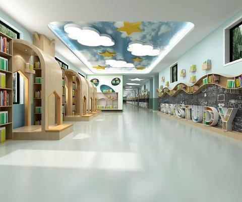幼儿园, 图书馆, 书柜, 吊灯, 书籍