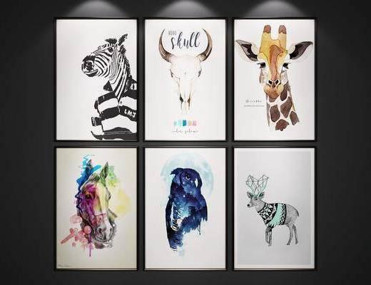 挂画, 麋鹿装饰画, 动物装饰画, 装饰画