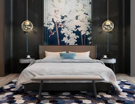 卧室, 双人床, 床尾凳, 吊灯, 装饰画, 挂画, 床头柜, 新中式