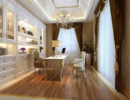 欧式书房, 书房, 欧式吊灯, 欧式置物柜, 摆件, 书桌, 椅子, 台灯