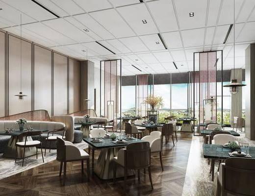 餐厅, 餐桌, 餐椅, 单人椅, 餐具, 装饰品, 摆件, 陈设品, 现代