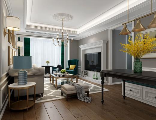 客厅, 简欧, 简欧客厅, 餐厅, 沙发组合, 沙发茶几组合