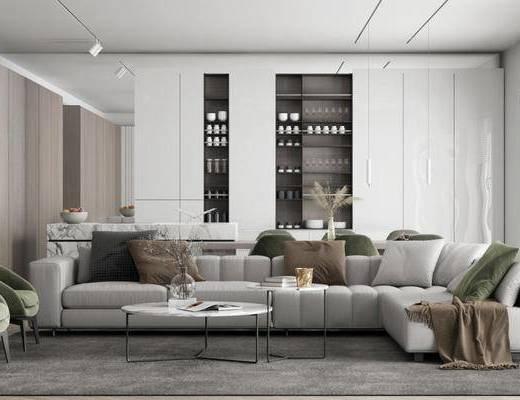 沙发组合, 茶几, 摆件组合, 抱枕, 单椅