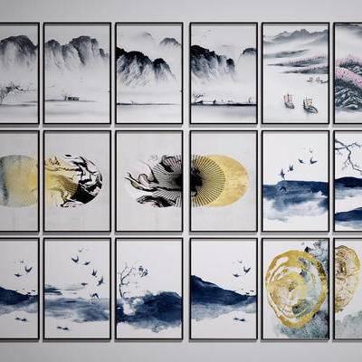 中式装饰挂画, 中式山水画啊, 中式水墨画