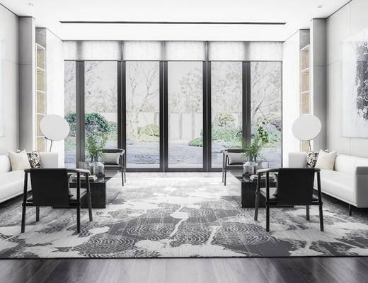 售楼处, 沙发组合, 墙饰, 单椅, 地毯