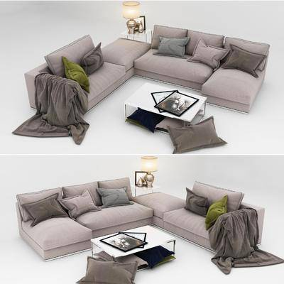 沙发组合, 布艺沙发, 转角沙发, 茶几, 边几, 装饰灯, 现代, 台灯, 相框
