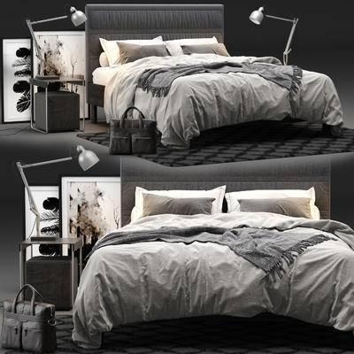 雙人床, 床頭柜, 臺燈, 裝飾畫, 地毯, 公文包