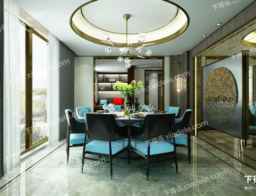 餐厅, 餐桌椅, 桌椅组合, 吊灯, 餐具, 现代
