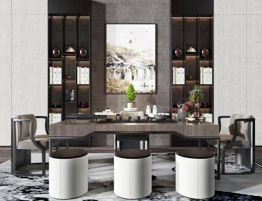 茶室, 茶桌, 单人椅, 凳子, 装饰画, 挂画, 盆栽, 绿植植物, 装饰柜, 摆件, 装饰品, 陈设品, 茶具, 新中式