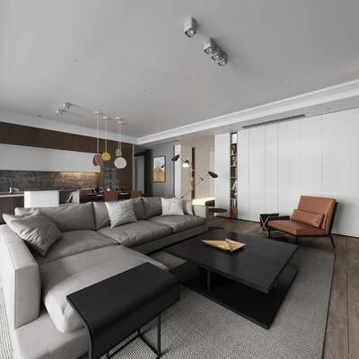 客厅, 餐厅, 沙发, 多人沙发, 茶几, 边几, 转角沙发, 吊灯, 餐桌, 单椅, 椅子, 餐具, 摆件, 现代, 简约