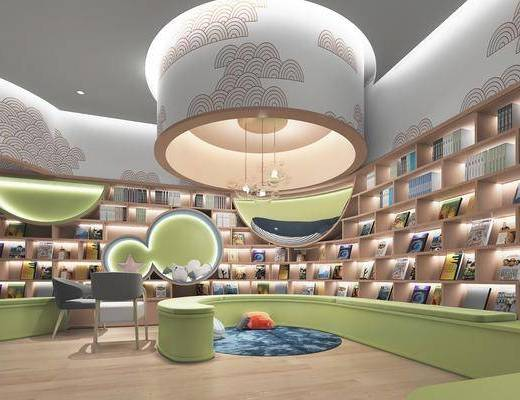 现代, 幼儿园, 活动区, 阅读区