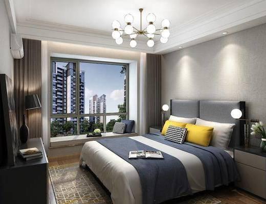 臥室, 床具組合, 吊燈, 臺燈, 擺件組合, 現代