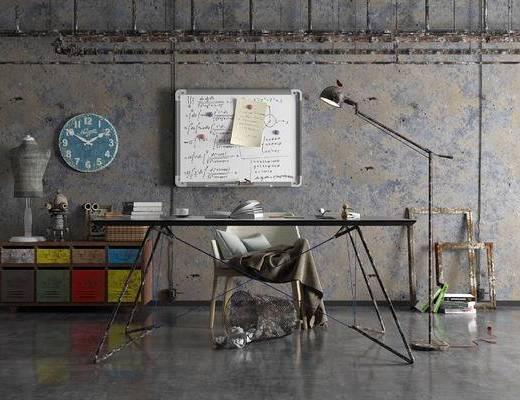 工业风, 办公室, 书桌, 休闲椅, 装饰柜, 落地灯