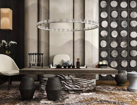 新中式, 茶室, 桌椅组合, 吊灯, 茶具组合