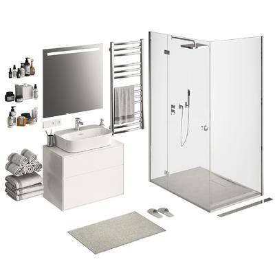 现代浴室, 浴室柜, 淋浴室