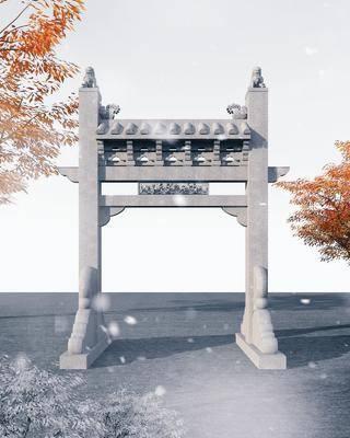 中式古建牌坊3d模型, 古建, 牌坊