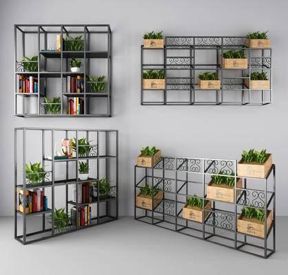 装饰架, 置物架, 植物架, 杂志架, 隔断, 工业风
