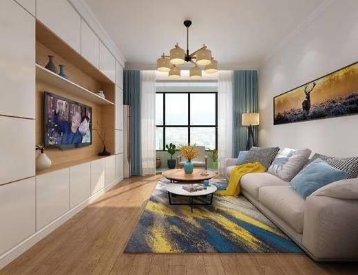 北欧, 简约, 客厅, 北欧沙发, 北欧客厅, 现代客厅