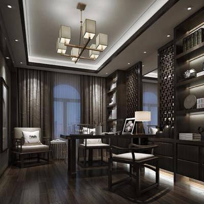 书房, 书桌, 装饰柜, 书籍, 摆件, 装饰品, 陈设品, 单人椅, 单人沙发, 台灯, 吊灯, 新中式