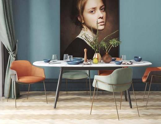 餐厅, 餐桌, 桌椅组合, 装饰画, 餐具组合