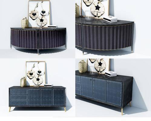 装饰柜, 现代轻奢装饰柜, 现代轻奢, 摆件组合, 装饰画, 现代
