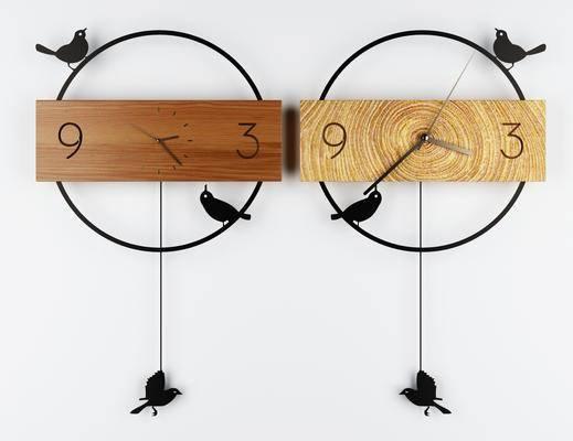 木质钟表, 挂件组合, 现代