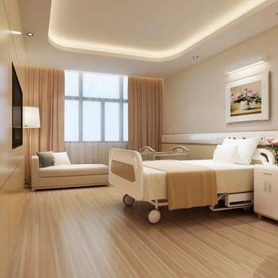 现代医院病房, 现代, 病房, 病床, 沙发, 床头柜