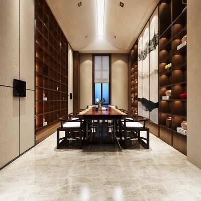 茶馆, 茶桌, 单人椅, 装饰柜, 装饰品, 陈设品, 桌子, 新中式