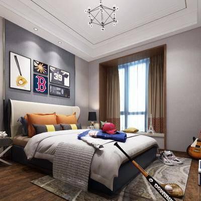 儿童房, 卧室, 现代卧室, 床, 吊灯, 台灯, 边几, 体育用品, 挂画