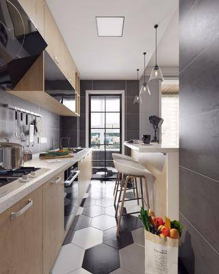 北欧厨房, 厨房, 厨房橱柜, 吧台