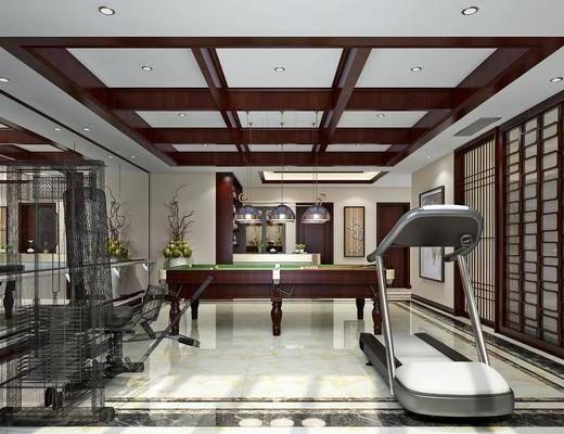 娱乐室, 台球, 台桌, 健身器材, 吊灯, 装饰画, 挂画, 新中式