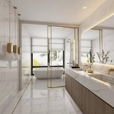现代, 浴室, 浴缸, ?#35789;?#21488;, 吊灯, 镜子