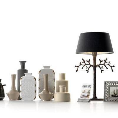 现代陶瓷瓷器台灯装饰画组合, 现代, 陶瓷, 台灯, 装饰画