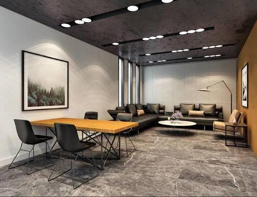 会议室, 办公室, 桌椅组合, 植物, 茶几