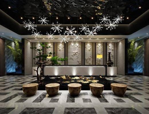 大堂, 新中式酒店大堂, 前台, 植物, 盆栽, 新中式