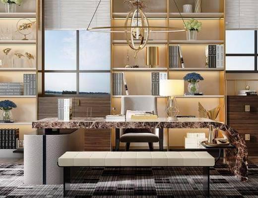 办公室, 办公桌, 办公椅, 单人椅, 装饰柜, 凳子, 吊灯, 摆件, 装饰品, 陈设品, 躺椅, 现代轻奢