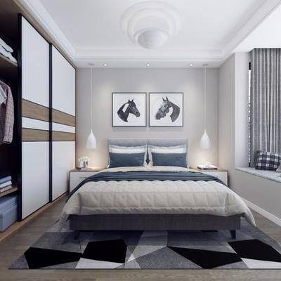 卧室, 双人床, ?#39184;?#26588;, 衣柜, 服饰, 装饰画, 挂画, 动物画, 北欧