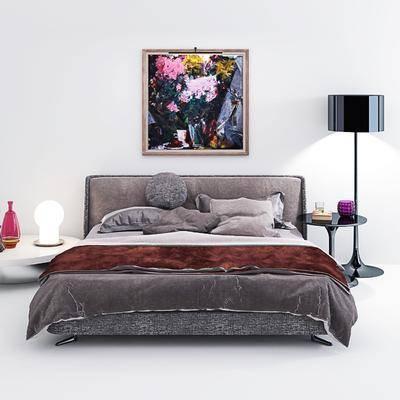 双人床, 茶几, 边几, 挂画, 落地灯, 装饰灯, 被子, 抱枕, 枕头, 现代