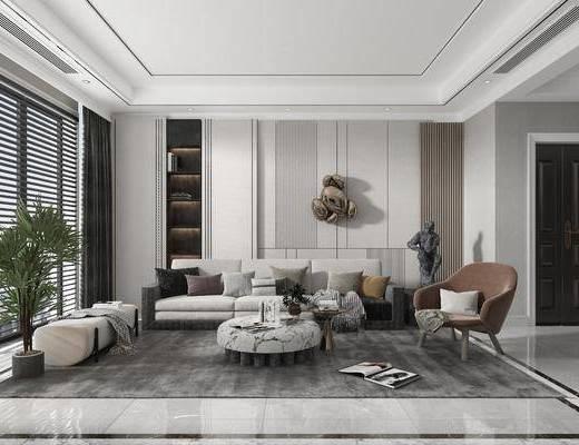 现代简约, 客厅, 多人沙发, 边几, 休闲椅, 盆栽