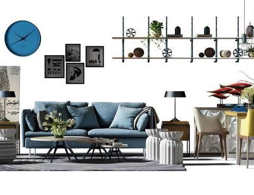 沙发组, 沙发茶几组合, 边柜, 餐边柜, 餐桌, 桌椅组合, 餐桌椅组合, 装饰架