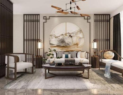 新中式沙发, 沙发, 沙发组合