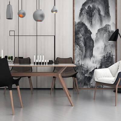 北欧简约, 餐桌椅组合, 桌椅组合, 吊灯, 落地灯, 北欧