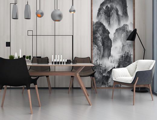 北欧简约, 餐桌椅组合, 桌椅组合, 吊灯, 落地灯
