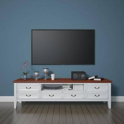 电视柜, 田园, 美式, 陈设品, 摆件