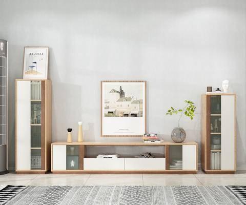 北欧电视柜, 北欧边柜, 实木电视柜