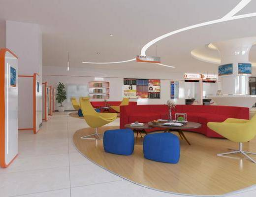 等待区, 银行, 休息区, 沙发组合, 沙发茶几组合, 摆件组合, 现代