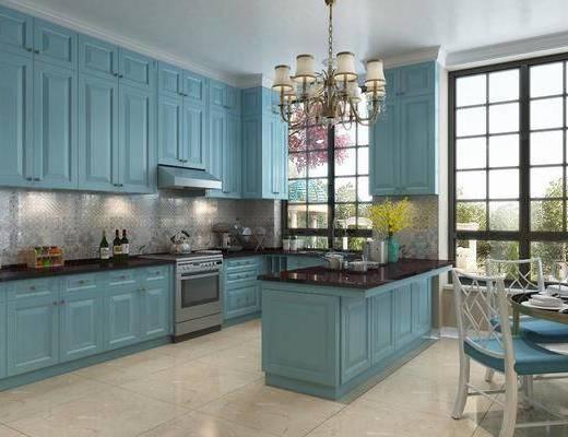 厨房, 橱柜, 厨具, 装饰品, 陈设品, 餐桌, 餐椅, 单人椅, 吊灯, 摆件, 简欧